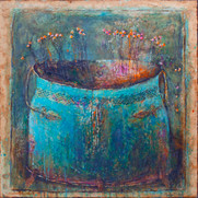 "Margaritki in a Blue pot No.2 (30""x30"")"