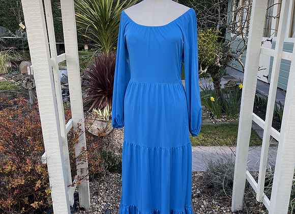 1970s King Fisher Blue Tiered Maxi Dress