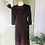 Vintage Brown Wool Crepe Dress with Ribbon Appliqué Front View