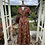 1970s Autumn Coloured Maxi Dress with Choker Neck Line Front View