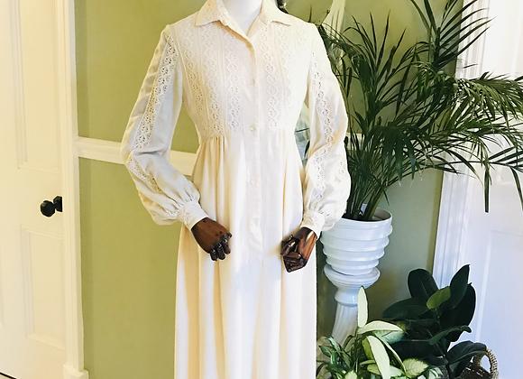 Cream Viyella & Lace Maxi dress
