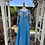 1970s Kingfisher Blue & Print Maxi Dress Front View