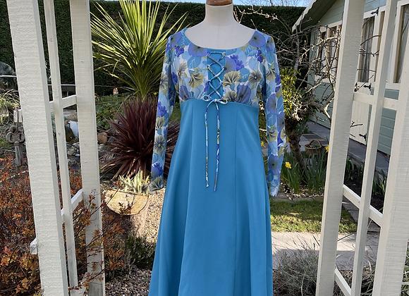 Kingfisher Blue & Print Maxi Dress