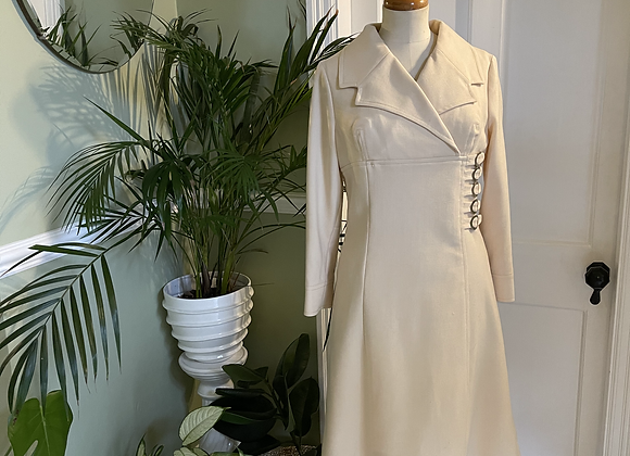 Cream Graphic Mod Dress