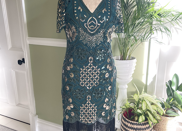 1920s Style Fringed Green Sequinned Dress