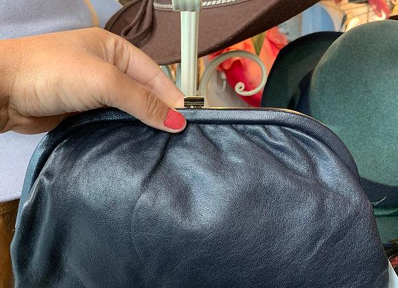 Dark Navy Leather Clutch