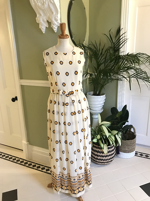 Cream Print 1970s Maxi Dress by Cresta Front View