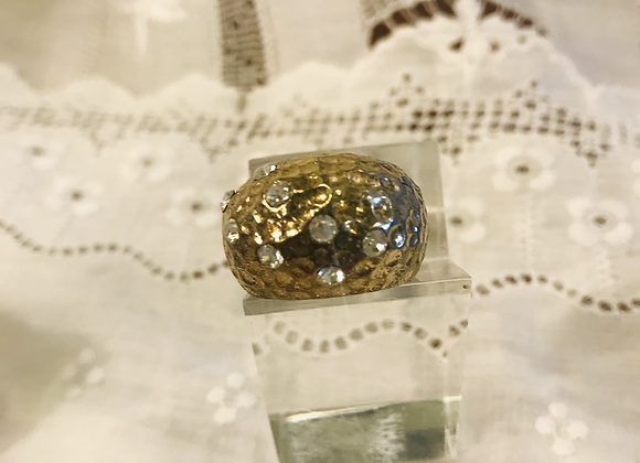 Dimpled Wide Gold Band with Diamanté