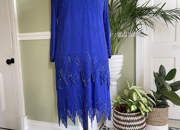Electric Blue Chiffon Beaded Dress