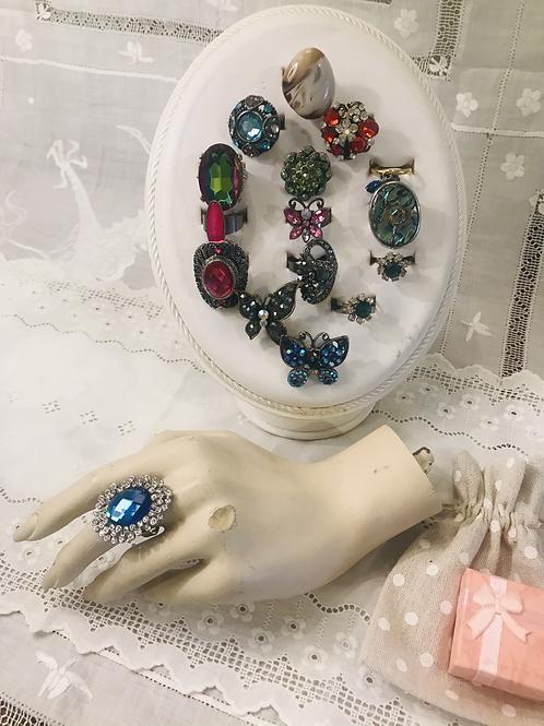 Adjustable Blue and Diamanté Ring