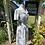 1970s White Print Summer Dress Side View
