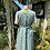1940s Vintage Pinafore  Green and Yellow Apron Dress Back View