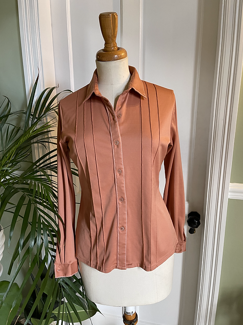 Tan Polyester 1970s Pin Tucked Shirt