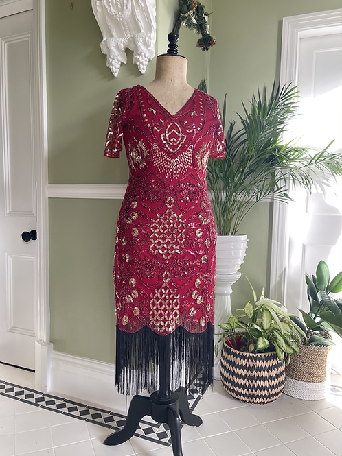 1920s Style Fringed Red Sequinned Dress
