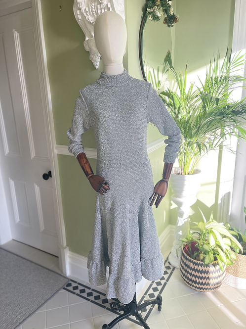 1970s Silver Knitted Sweater Dress Front View