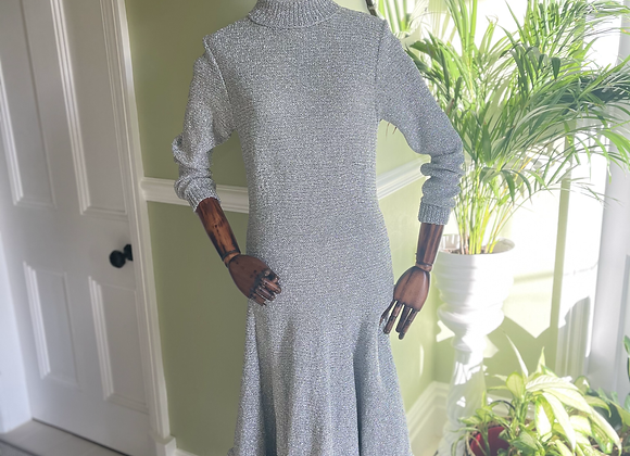 Silver Knitted Sweater Dress