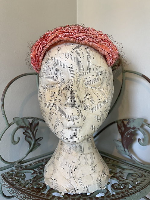 Coral Cocktail Hat