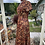 1970s Autumn Coloured Maxi Dress with Choker Neck Line Side View