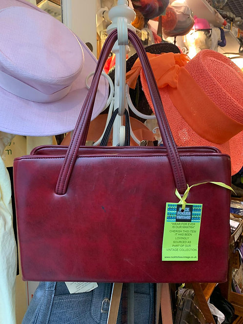 1970s Double Zipped Burgundy Frame Bag Front View