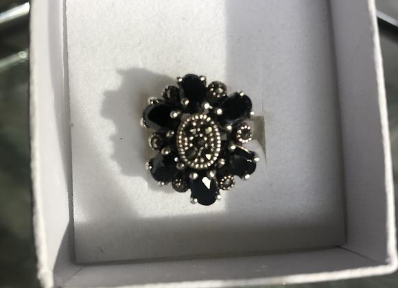 Black Stone Silver Ring