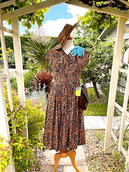 Goodwood Styled1940s Cotton Brown Floral Day Dress with Pointed Collars Front View