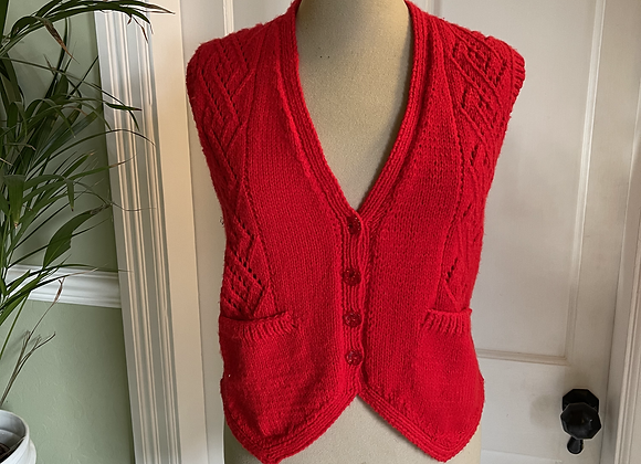 Hand Knitted Red  Waist Coat