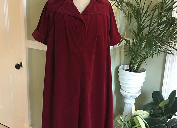 1970s Laura Ashley Cotton Velvet Dress