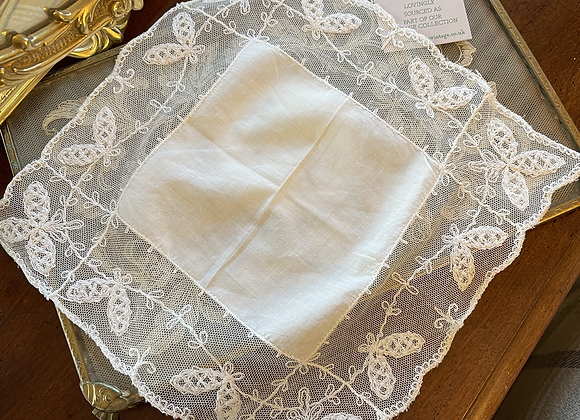 Vintage Lace Handkerchief - Butterfly