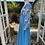 1970s Kingfisher Blue & Print Maxi Dress Side View