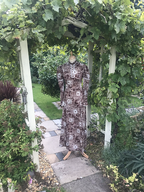 1970s Brown and White Maxi Dress by Jean Varon Front View