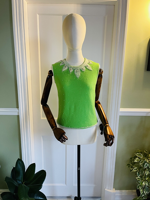1960s Green Knitted Beaded Top