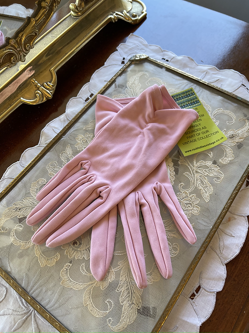 Rose Pink Nylon Gloves Empire Made Front View