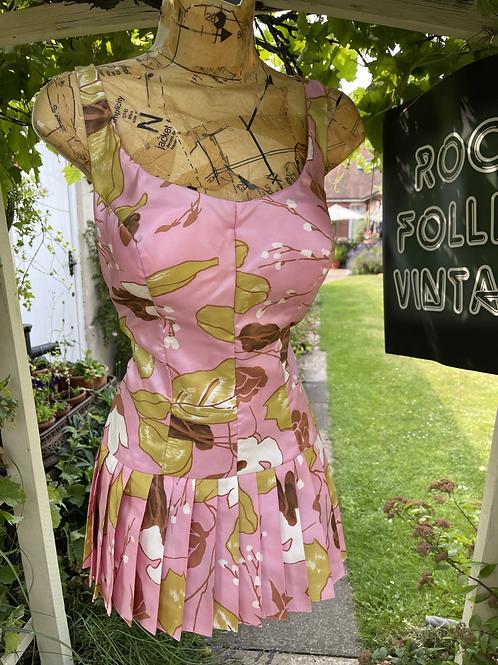 Original 1950s  Swim Suit with Pleated Skirt