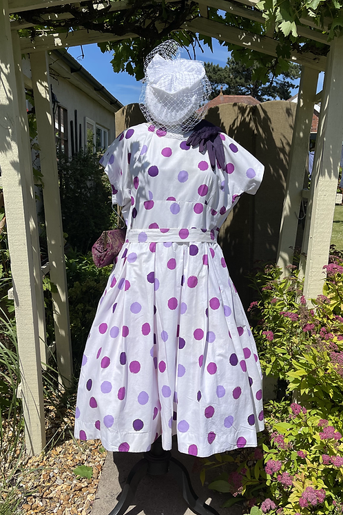 Goodwood Styled  Polka Dot Tea Dress Front View