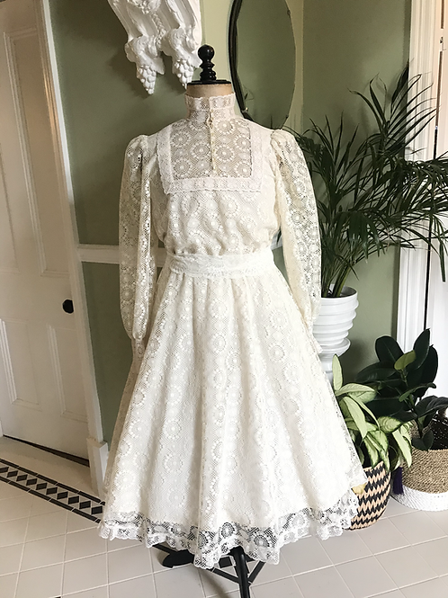 1970s All Over Cream Lace Fit & Flare Dress Front View