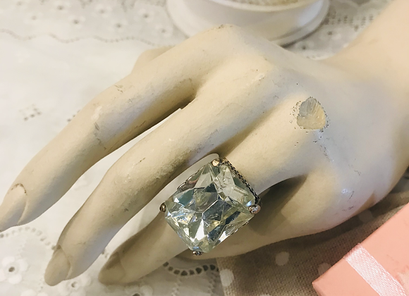 Large Clear Stone  Ring