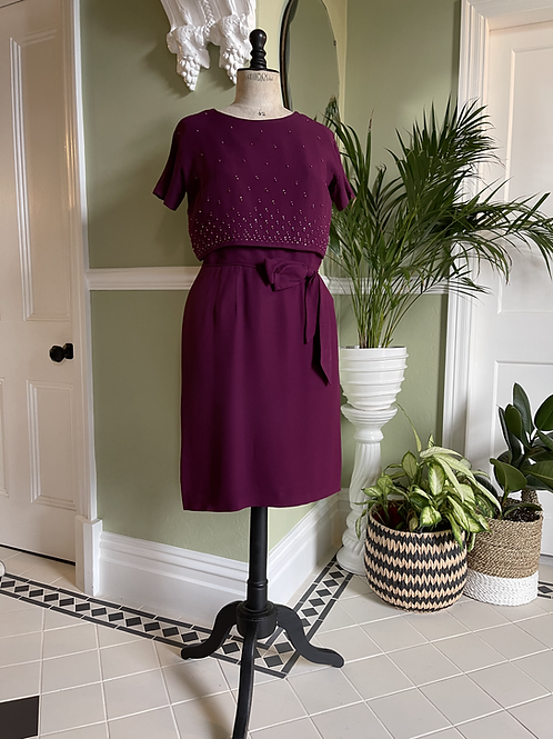 1950s Hand Beaded Crepe Dress from USA Front View