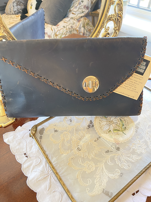 Leather Navy Envelope Clutch