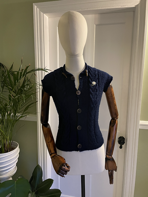 Hand Knitted Navy Waist Coat