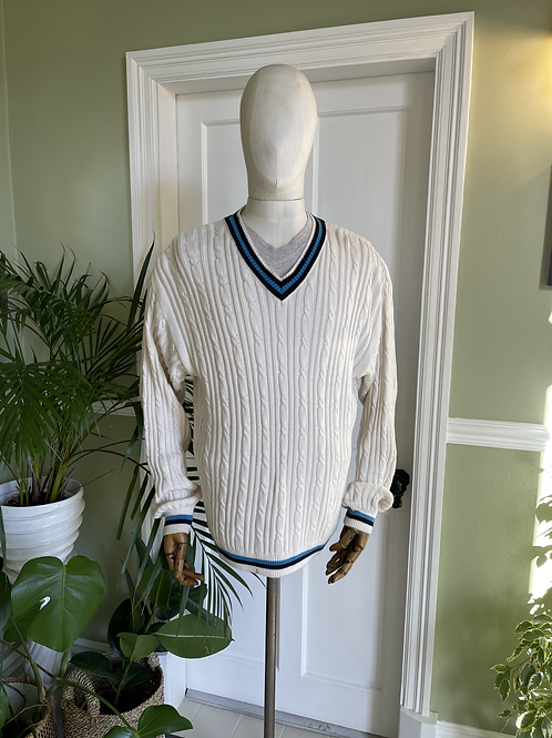 1980s Classic Cricket Styled Cable 'V' Neck
