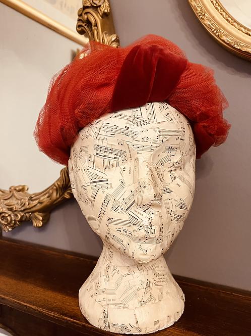 1950s Red Net & Burgundy Velvet Hat Front View