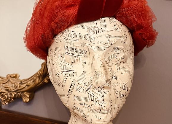 Red Net & Burgundy Velvet Hat
