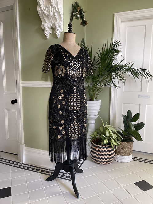 1920s Style Fringed Black and Gold Sequinned Dress Front View