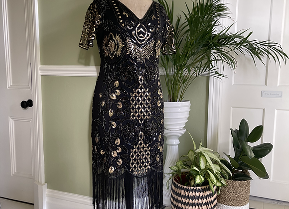 1920s Style Fringed Gold Sequinned Dress