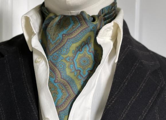 Vintage Cravat - Olive Green & Turquoise