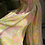 1960s Pastel Pink and Yellow Chiffon Cat Suit Leg View
