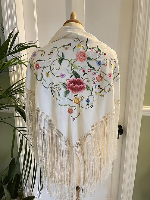 Embroidered Fringed Shawl