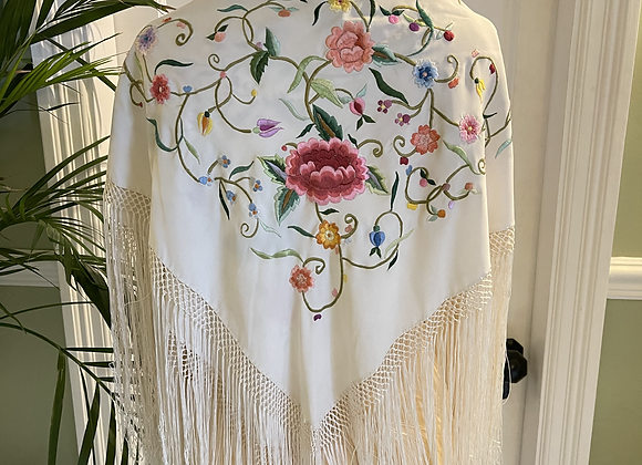 Embroidered Fringed Shawl