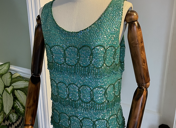 1960s Turquoise Green Knitted Beaded Top