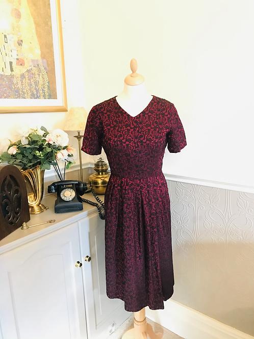 1950s Brocade Dress Front View